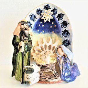 BLUE SKY CHRISTMAS MANGER w-BabyJesus  TEALIGHT